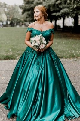 Vintage Appliques Off-the-shoulder Ball Gown Prom Dresses_2
