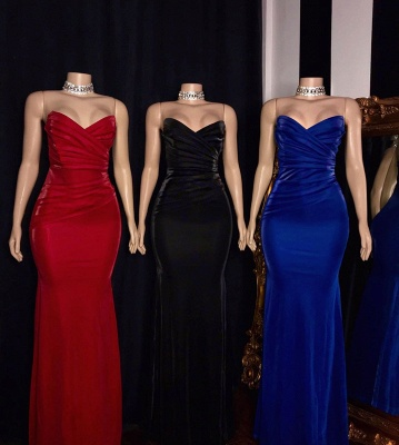 Draped V-neck Strapless Floor Length Mermaid Formal Dresses_2