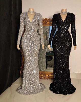 Shinning Sequins V-neck Long Sleeves Floor Length Mermaid Prom Dresses_2