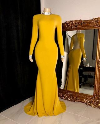 Long Sleeves Floor Length Open Back Mermaid Prom Gowns_3