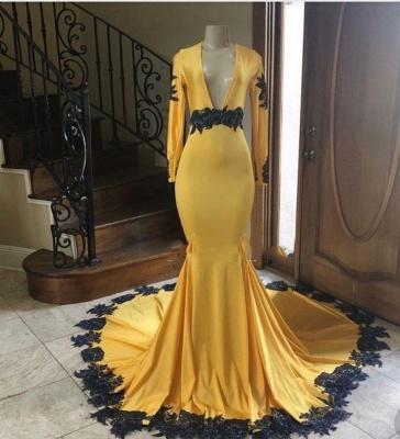 Long Sleeves V-neck Black Appliques Golden Mermaid Prom Dresses_2
