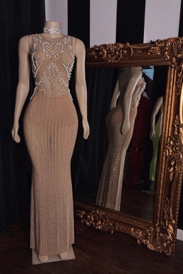 Sleeveless Pearl Beading Floor Length Champagne Mermaid Formal Gowns_1