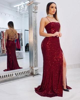 Spaghetti Straps Sequins Floor Length Mermaid Formal Dresses UK_2