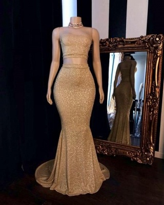 Strapless Two-pieces Golden Shinny Mermaid Prom Dresses_2