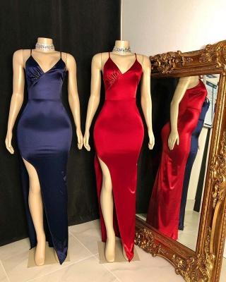 Spaghetti V-neck Front Slit Long Satin Mermaid Evening Dresses_2