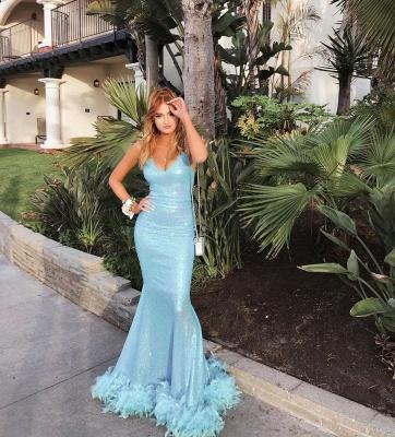 Blue Spaghetti V-neck Sequins Fur Long Mermaid Evening Dresses_3