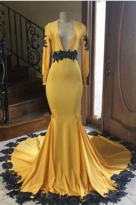 Long Sleeves V-neck Black Appliques Golden Mermaid Prom Dresses_1