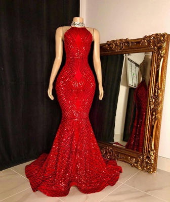 Sequins Beading Halter Cross Back Long Mermaid Prom Dresses_2