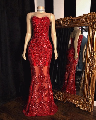 Beading Appliques Sweetheart Strapless Red Mermaid Prom Gowns_2