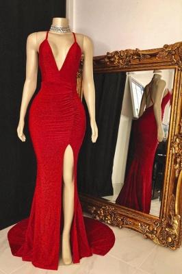 Spaghetti V-neck Criss-cross Red Long Mermaid Evening Dresses_1