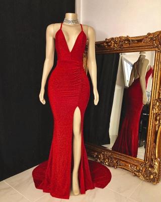 Spaghetti V-neck Criss-cross Red Long Mermaid Evening Dresses_2