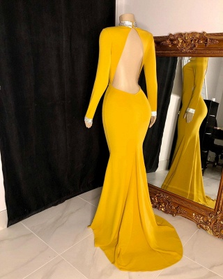 Long Sleeves Floor Length Open Back Mermaid Prom Gowns_2