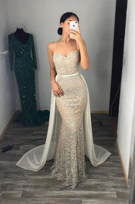 Silver Sequins Sweetheart Spaghetti Long Mermaid Dresses with Tulle Train_2