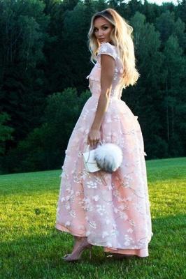 Elegant Tea-length Lace Appliques A-line Prom Dresses_2