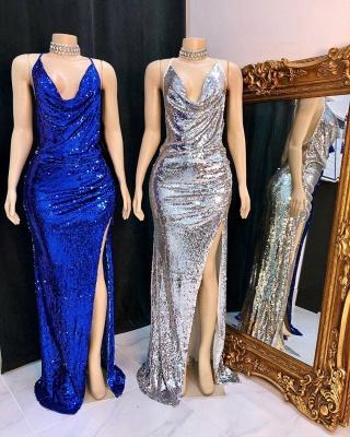 V-neck Sleeveless Front Slit Mermaid Sequins Formal Gowns_2