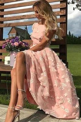 Elegant Tea-length Lace Appliques A-line Prom Dresses_1