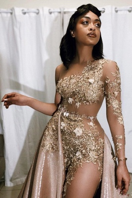 Sexy One-sleeve Appliques Mermaid Prom Dresses with Sequins Overskirt_2