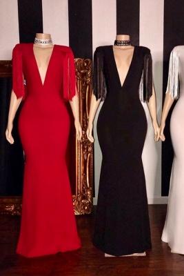 Elegant Tassels Shoulder V-neck Floor Length Mermaid Prom Dresses_1