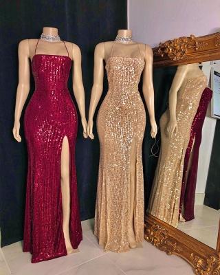 Spaghetti Straps Sequins Floor Length Mermaid Formal Dresses UK_3