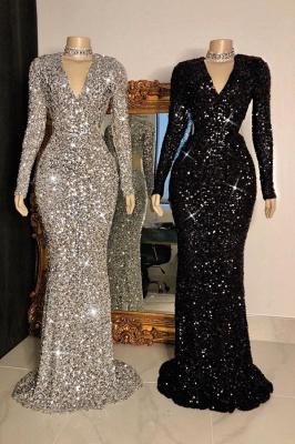 Shinning Sequins V-neck Long Sleeves Floor Length Mermaid Prom Dresses_1