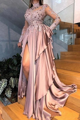 High Neck Long Sleeves Appliques Ruffles Front Slit A-line Prom Gowns_1