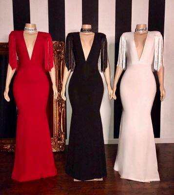 Elegant Tassels Shoulder V-neck Floor Length Mermaid Prom Dresses_2