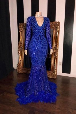 Charming Royal Blue Sequins Mermaid Prom Dress Long Sleeve Slim  Evening Dress