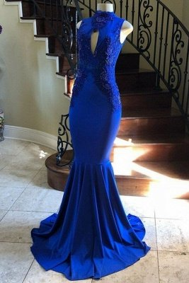 Sleeveless High-neck Hollow Neckline Long Mermaid Evening Gowns