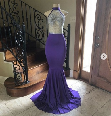 Halter Illusion Appliques Floor Length Mermaid Prom Gowns_2