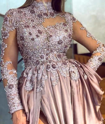 High Neck Long Sleeves Appliques Ruffles Front Slit A-line Prom Gowns_2
