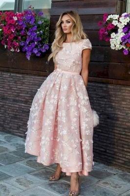 Elegant Tea-length Lace Appliques A-line Prom Dresses_3