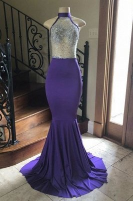 Halter Illusion Appliques Floor Length Mermaid Prom Gowns_1