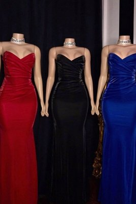 Draped V-neck Strapless Floor Length Mermaid Formal Dresses_1