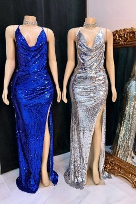V-neck Sleeveless Front Slit Mermaid Sequins Formal Gowns
