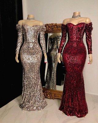 Sweetheart Off-the-shoulder Long Sleeves Sequins Mermaid Prom Dresses_2
