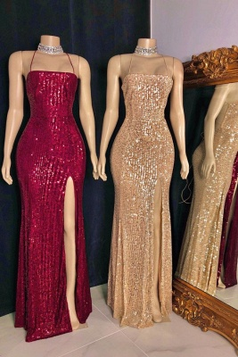Spaghetti Straps Sequins Floor Length Mermaid Formal Dresses UK