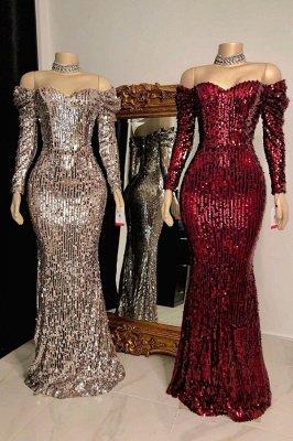 Sweetheart Off-the-shoulder Long Sleeves Sequins Mermaid Prom Dresses_1