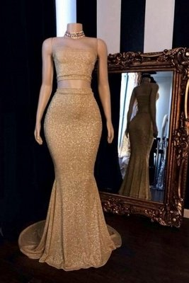 Strapless Two-pieces Golden Shinny Mermaid Prom Dresses_1