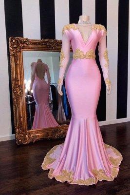 Golden Appliques Long Sleeves V-neck Mermaid Prom Dresses_1