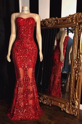 Beading Appliques Sweetheart Strapless Red Mermaid Prom Gowns_1