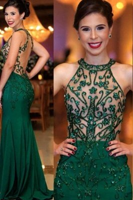 Halter illusion Crystal Beading Sheath Floor Length UK Evening Dresses