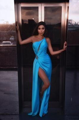 Sexy High Slit One-shoulder Satin Party Dresses UK