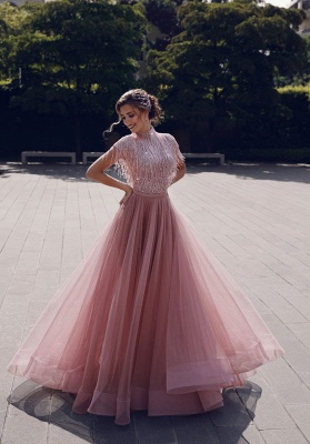 Newest High Neck Sequins Tassels Top Short Sleeves A-line Chiffon Pink Prom Dresses_6