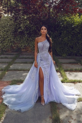 One-shoulder Appliques Sheath Long Slit Evening Gowns with Tulle Overskirt
