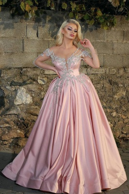 Illusion Long Sleeves Beading Appliques Princess Pink Prom Dresses_1