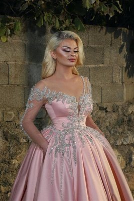 Illusion Long Sleeves Beading Appliques Princess Pink Prom Dresses_2
