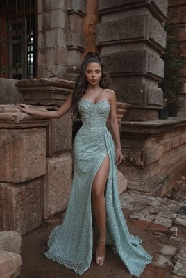 Sweetheart Strapless Lace Mermaid Front Slit Long Prom Gowns_1