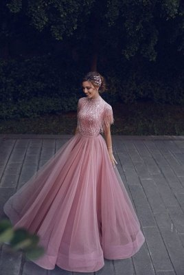 Newest High Neck Sequins Tassels Top Short Sleeves A-line Chiffon Pink Prom Dresses