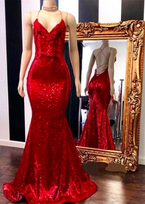 Spaghetti Straps V-neck Backless Mermaid Red Sequins Formal Dresses
