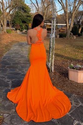 See Through Appliques Slit Mermaid Ginger Evening Dresses_2